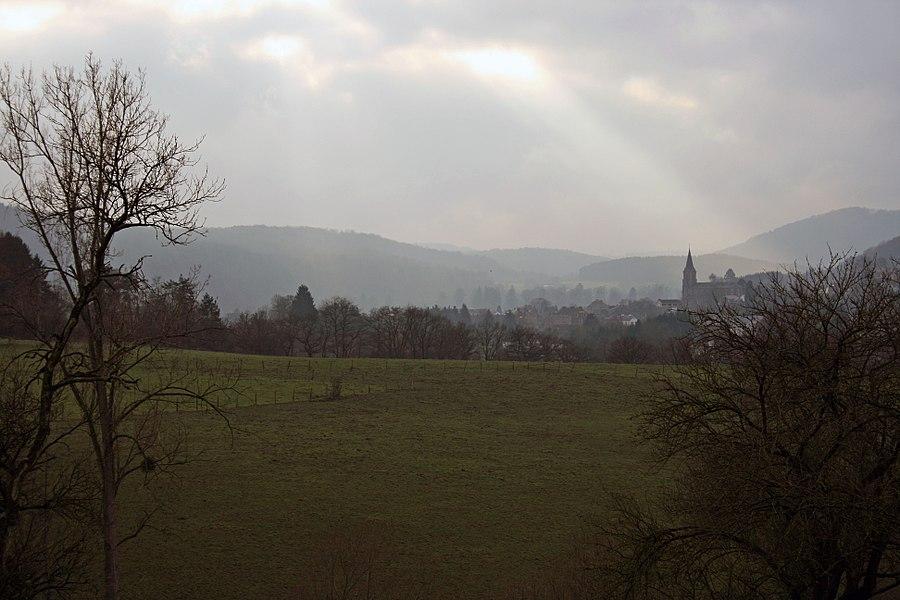Hamoir in the distance