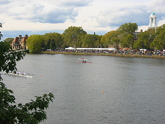 Head of the Charles Regatta - Spectators lining the bank of the Charles River in 2003