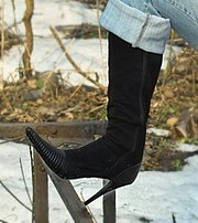A boot with a stiletto heel