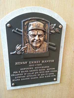Heinie Manush - Manush's plaque at the Baseball Hall of Fame