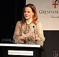 Helen Castor, Historian of Medieval England, giving a Gresham College lecture (22218675438) (cropped).jpg