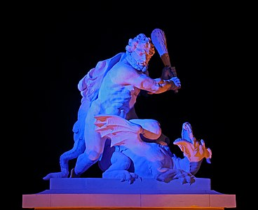 "Heracles with the dragon ""Ladon"" in nighttime illumination. Castle square, Karlsruhe"