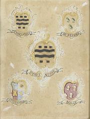 Het wapen van Maria Magdalena Stavenisse, echtgenote van Jacob de Witte, met de wapens van haar vier grootouders
