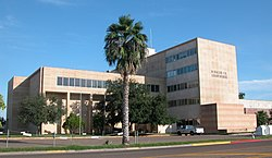 The Hidalgo County Courthouse as seen from University Drive in late 2002