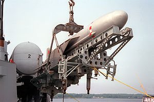 P-15 Termit - A P-15M missile (SS-N-2c) being unloaded from a former East German Navy Tarantul class missile boat