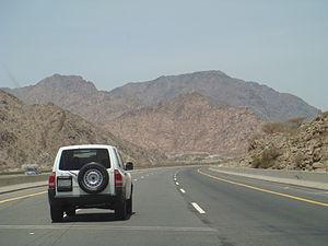 Transport in Saudi Arabia - Highway 60 passing through Hejaz Mountain Ranges near Taif
