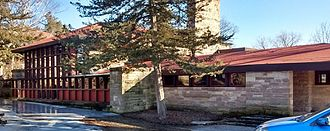 Hillside Home School II - The north facade of the Hillside Theater on architect Frank Lloyd Wright's Hillside Home School II on his Taliesin estate in Spring Green, Wisconsin.