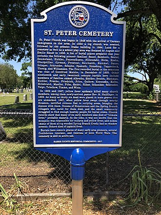 Spring Branch, Houston - Historical marker at St. Peter's United Church including the names of the German families who both settled the area and are interred in the Church's cemetery.