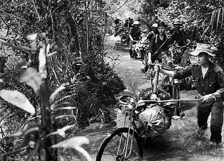 The Ho Chi Minh trail required, on average, four months of rough-terrain travel for combatants from North Vietnam destined for the Southern battlefields. Ho chi minh trail.jpg