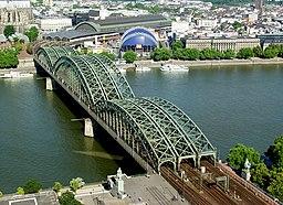 Hohenzollernbrücke Köln von oben