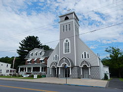 Valley Road (U.S. Route 209). Holy Cross Church.
