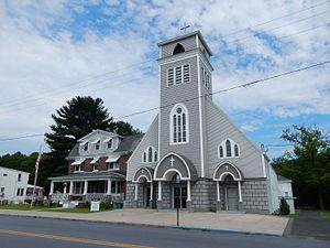 New Philadelphia, Pennsylvania - Valley Street (U.S. Route 209). Holy Cross Church.