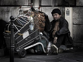 Poverty in France - A homeless man in Paris.