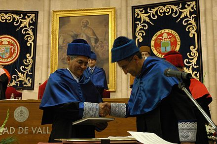 Honoris causa doctorates wearing the Spanish doctor's academic dress for Sciences at the University of Valladolid, Spain. - Academic dress