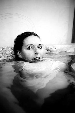 Women in hot tub