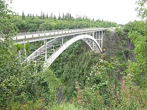 George Parks Highway - The highway's bridge over Hurricane Gulch.