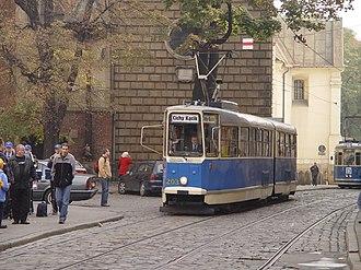 Trams in Kraków - Historic Konstal 102N tram in Old Town.