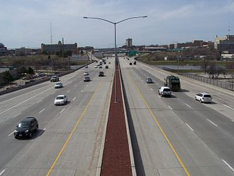 Interstate 235 (Iowa) - Interstate 235 crosses the Des Moines River in downtown Des Moines.