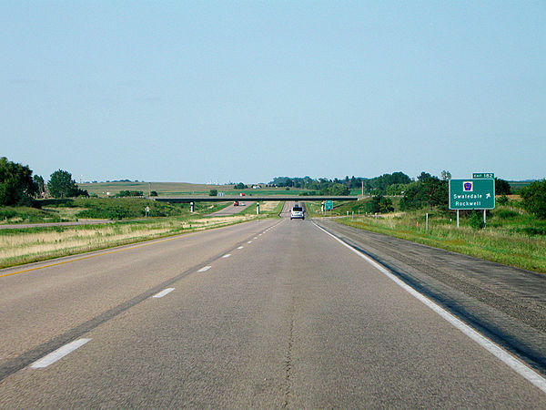 Interstate 35 in Iowa, near Exit 182. The town of Swaledale is about one mile to the east. I-35 nb ia exit 182.jpg