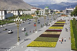 View of the main road in Lhasa