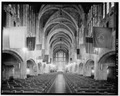INTERIOR VIEW OF NAVE, LOOKING SOUTH - U. S. Military Academy, Cadet Chapel, West Point, Orange County, NY HABS NY,36-WEPO,1-20-8.tif