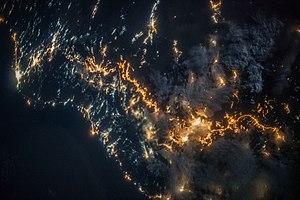 Sarawat Mountains - Image: ISS 36 Nighttime view of southwestern Saudi Arabia