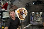 ISS-50 Peggy Whitson with a 'space cheeseburger'.jpg