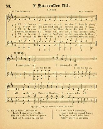 "I Surrender All - First publication of ""I Surrender All"", in Gospel Songs of Grace and Glory (1896)"