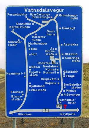 Road signs in Iceland - A sign displaying the location of scattered villages and homesteads in a rural area of Iceland