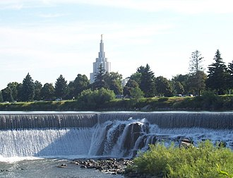 Historical ecology - Manmade nature: In Idaho Falls, Idaho, these waterfalls replaced naturally occurring ones