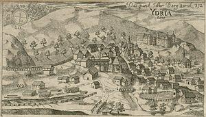 Idrija - Idrija mercury mine, 1679 engraving by Johann Weikhard von Valvasor