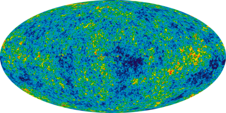 9 year WMAP image of the cosmic microwave background radiation (2012). The radiation is isotropic to roughly one part in 100,000. Ilc 9yr moll4096.png