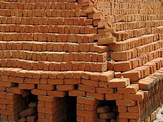 Brick clamp - A brick clamp in rural India