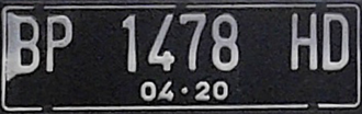 Vehicle registration plates of Indonesia - The new/current vehicle plate number design of Indonesia. BP identifies the vehicle is registered from Riau Islands region, suffix 1 and H indicates the vehicle type and local area where the plate is registered, and 04.20 identifies the expiry date of the plate which is April 2020