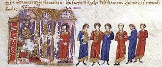 Hovhannes-Smbat III of Armenia - Hovhannes submits to Basil II, miniature from the Madrid Skylitzes