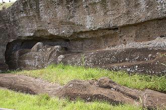 Rano Raraku - An incomplete moai in quarry