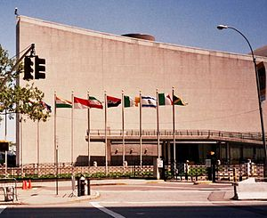 Foreign relations of Israel - Israeli flag at the United Nations building in New York