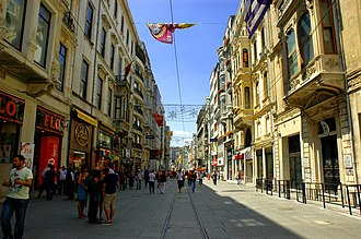 Istiklal Avenue is visited by nearly three million people on weekend days. Istiklal str. Istanbul - panoramio.jpg