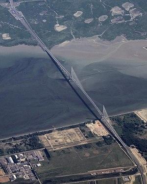Pont de Normandie - Image: J79164 Yul cdg 20140624 051332.55 France