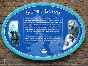 Jacob's Island - Blue plaque (historic marker) on the site of Jacob's Island.