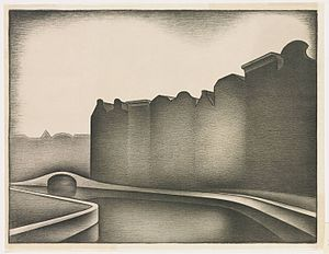 Jacob Bendien - Canal, Lithograph