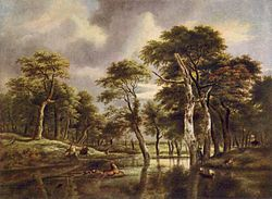 Jacob Isaacksz. van Ruisdael: Hirsch-Jagd in einem Wald mit einem Sumpf