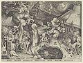 Jakobus de Meerdere ontmoet de magiër Hermogenes, Pieter van der Heyden, Hieronymus Cock, 1565.jpg