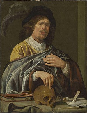 Young Man with a Skull - Image: Jan Miense Molenaer self portrait 1640