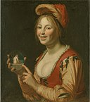 Jan van Bijlert - Laughing Girl Showing a Small Picture of a Nude Woman Seen from Behind - KMS1390 - Statens Museum for Kunst.jpg