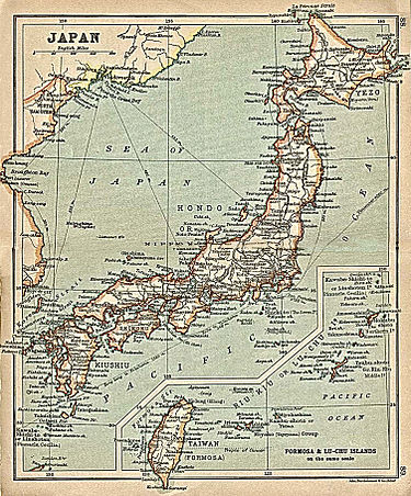 "A 1911 map of Japan, including Taiwan ""Japan"" with inset map ""Formosa and Riu-Kiu Islands"" from A Literary and Historical Atlas of Asia, by J.G. Bartholomew. J.M. Dent and Sons, Ltd. 1912.jpg"