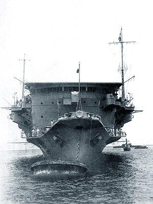 Japanese aircraft carrier Ryūjō - Bow view of Ryūjō, June 1933