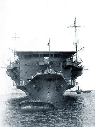 Japanese aircraft carrier Ryūjō - Bow view of Ryūjō, June 1933
