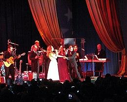 Jennifer Lopez e Marc Anthony in un concerto del 2009
