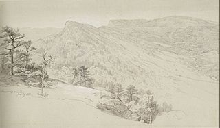 View of the Shawangunke Mountains, graphite with white heightening on paper by Johann Herman Carmiencke, 1865,Honolulu Museum of Art